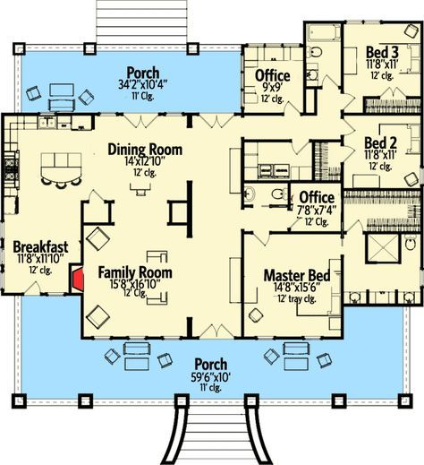 Grand Wrap-Around Porch - 86223HH | Country, Southern, 1st Floor Master Suite, CAD Available, Den-Office-Library-Study, PDF, Wrap Around Porch | Architectural Designs