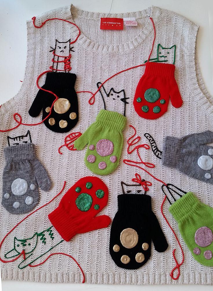 Kitten Mittens Ugly Sweater DIY | iLoveToCreate