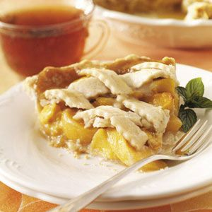 Butterscotch Peach Pie Recipe -When peach season arrives, this great, old-fashioned pie is sure to be on the table. The recipe has been in our family for over 60 years, and I still make it every summer. Butterscotch buffs love it. —Barbara Moyer, Tiffin, Ohio