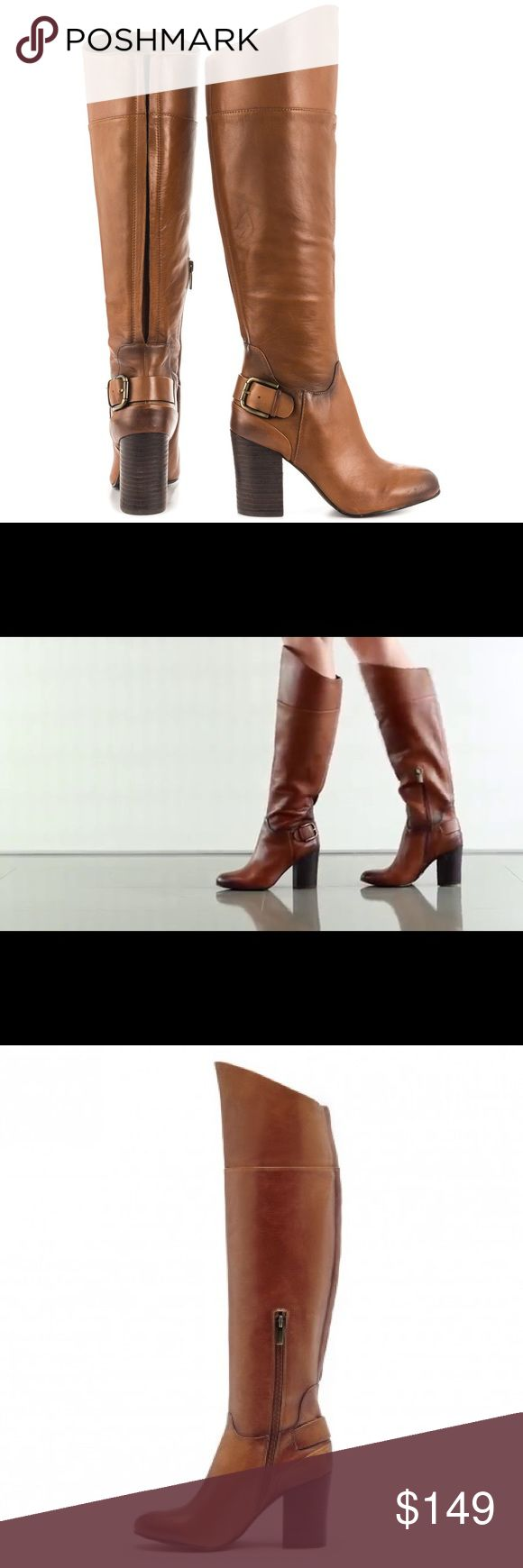 """{Vince Camuto} Sidney leather boots The Vince Camuto Sidney Boots feature a upper with a Round Toe. The Rubber outsole lends lasting traction and wear. SIDNEY-WRMBRNBTR. Material: Measurements: Shaft measures 16"""", Circumference measures 16"""" and 3.5"""" heel. Width: B(M). Color: brown --  I've worn these maybe 2 or 3 times. Natural color variations throughout leather on boots. Great condition!! Vince Camuto Shoes Heeled Boots"""