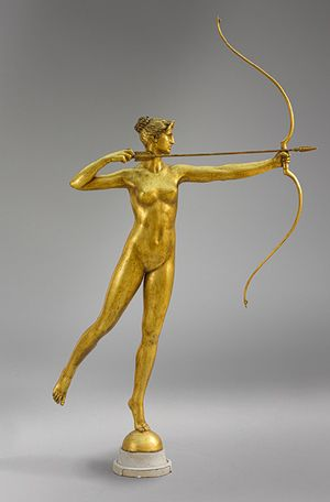 Augustus Saint–Gaudens (American, 1848–1907). Diana, 1892–93; this cast, 1928. The Metropolitan Museum of Art, New York. Rogers Fund, 1928 (28.101) | At the request of architect Stanford White, Saint-Gaudens created a revolving finial to surmount the tower of White's Madison Square Garden (completed in 1891). #newyork #nyc