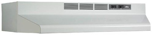 Broan F402401 24-Inch Two-Speed 4-Way Convertible Range Hood, White 120 Volts 190 CFM 2.5-Amps. Four way convertible installs ducted 3-1/4-Inch by 10-Inch vertical or horizontal and 7-Inch round vertical and non-ducted. Dishwasher safe aluminum grease filter. HVI certified. Includes 3-1/4-Inch by 10-Inch damper/adapter and the 7-Inch round adapter.  #Broan #HomeImprovement