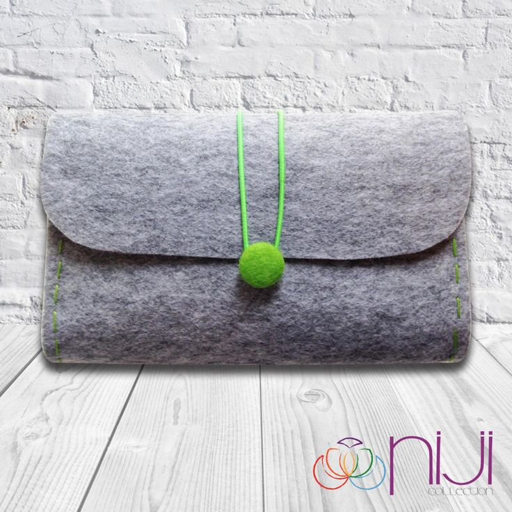 Felt Clutch Bag Hand Bag Grey & Green | Etsy