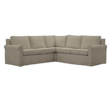 Cameron Roll Arm Slipcovered 3-Piece L-Shaped Corner Sectional Polyester Wrapped Cushions  sc 1 st  Pinterest : pottery barn cameron sectional - Sectionals, Sofas & Couches