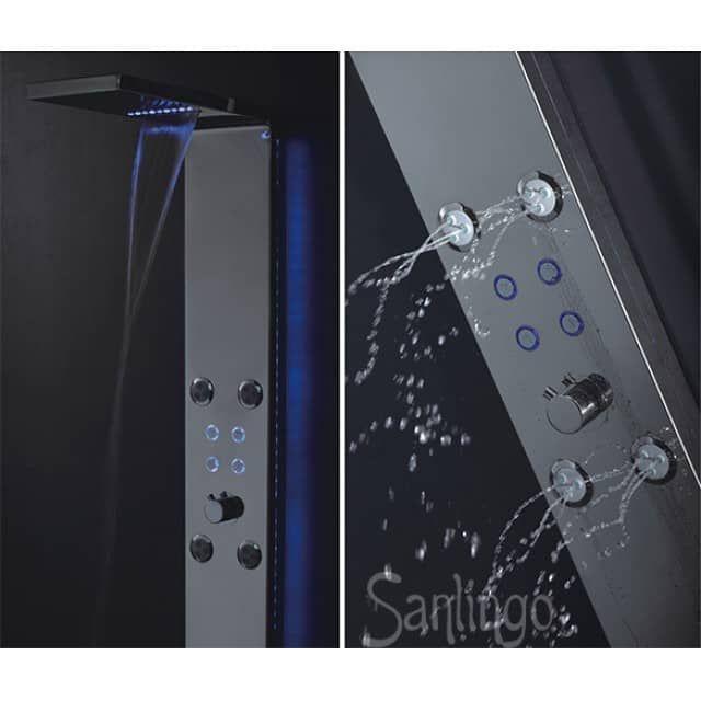 Gebürstetes LED Duschpaneel aus EDELSTAHL mit Wasserfall, Regendusche, Massagedüsen und Handbrause Blaue LED Beleuchtung an der Regendusche, den Umschaltknöpfen und an den Seiten des DuschpaneelsProduktbeschreibung - Duschpaneel aus gebürstetem 304Žer Edelstahl (matt) - Massagedüsen mit Antikalkvorrichtung - Blaue LEDŽs leuchten in der Regendusche, den Umschaltknöpfen   und den Seiten  - Angetrieben per Turbine in der Zuleitung, kein Strom notwendig. - Sehr einfache Montage an der Wand…