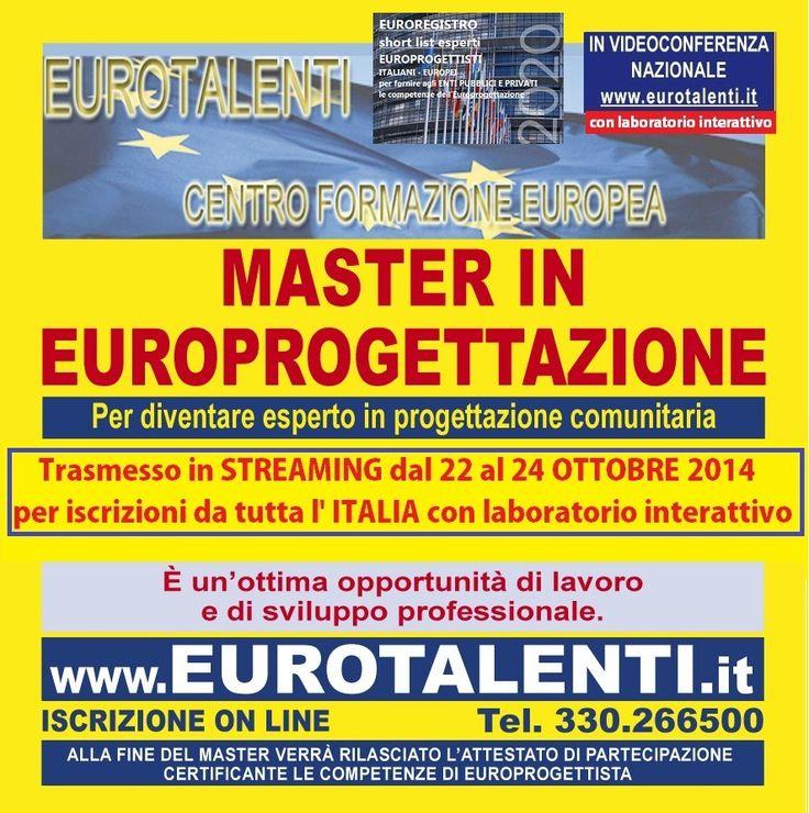 NUOVA OPPORTUNITA' DI #LAVORO – STAGE e TIROCINIO:  RIPARTI CON UNA #COMPETENZA INNOVATIVA  Diventa consulente #EUROPROGETTISTA: professione innovativa  #Master in #Europrogettazione  ti consente #lavoro, #indipendenza, #professionalità' e #guadagni immediati #tiocinio e #stage ISCRIVITI ON LINE: www.eurotalenti.it #FINANZIAMENTI Europei in #ITALIA e in #EUROPA