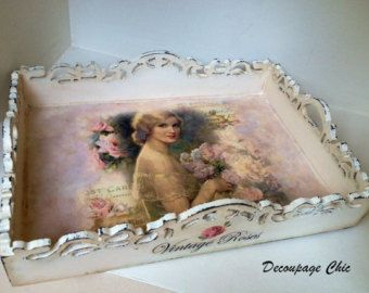 Serving Trayvintage roses handmade distressed serving tray