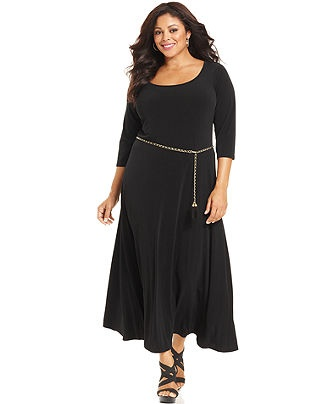 Calvin Klein Plus Size Dress, Three-Quarter-Sleeve Belted Maxi - Long Maxi Dresses - Plus Sizes - Macy's