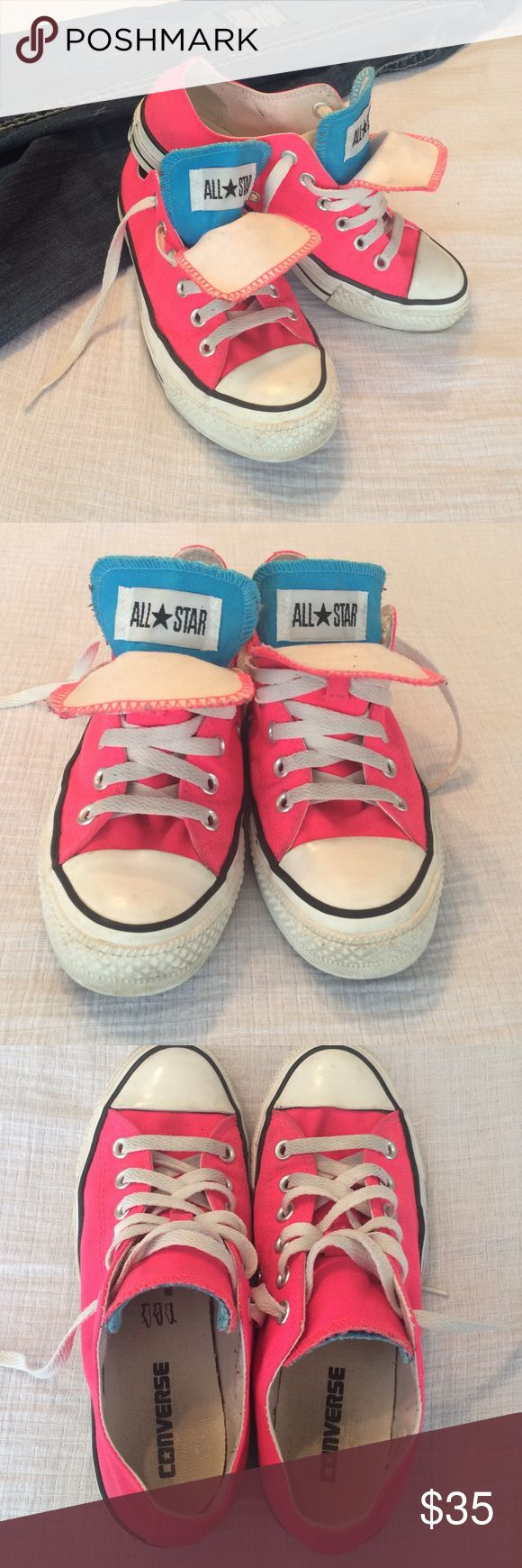 Neon pink and blue Converse 👀Look at these bright colors 👀These are in great condition! They have only been worn a handful of times. They just need a little cleaning and they would look new! Bright pink shoes with turquoise tongues.   Size 7 in Women's and 5 in men's. Converse Shoes Sneakers