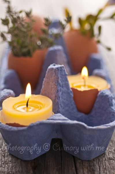 Easter candles from egg shells