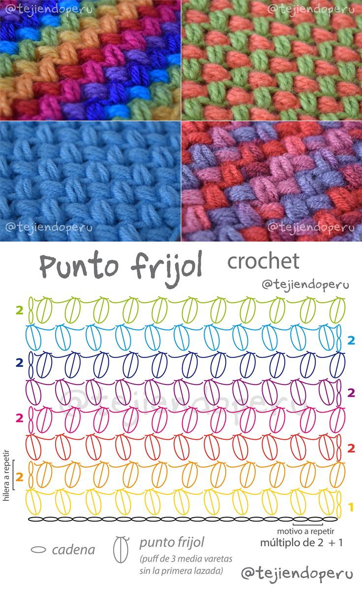 Punto frijol o bean stitch tejido a crochet. Diagrama y video tutorial del paso a paso ;)