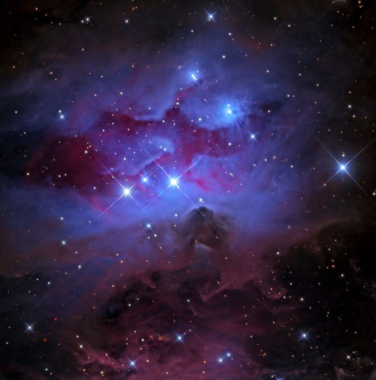 The 1970s are sometimes ignored by astronomers, like this beautiful grouping of reflection nebulae in Orion - NGC 1977, NGC 1975, and NGC 1973 - usually overlooked in favor of the substantial glow from the nearby stellar nursery better known as the Orion Nebula.