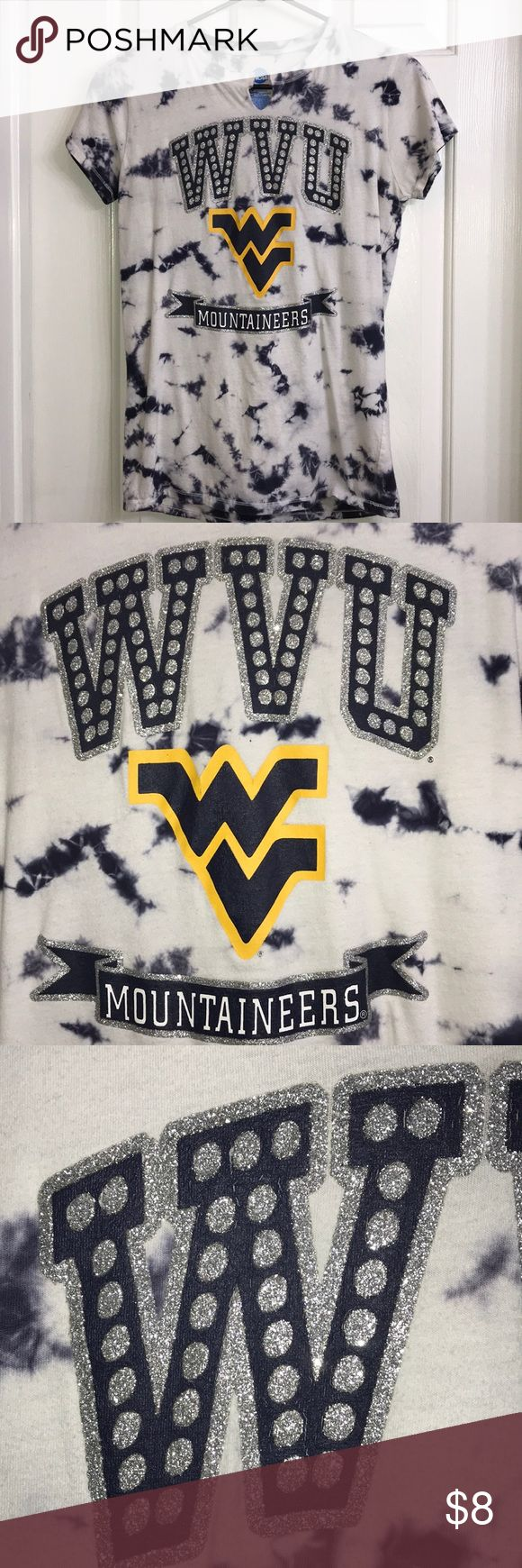 Women's WVU T-shirt Blue and white WVU T-shirt with some silver bling. Good shape. Tops Tees - Short Sleeve