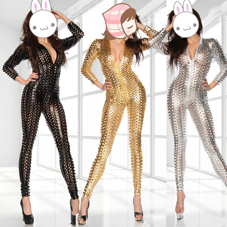 Women Sexy Hole Faux Leather Bodysuit Zipper Fornt Bandage Jumpsuit Sliver/Gold/Black Catsuit Overall Night Club Jumpsuit #Affiliate