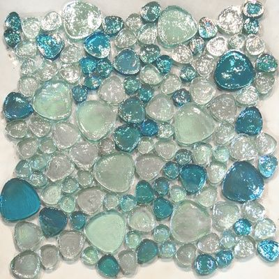 Blue Iridescent Glass Blends Flat Pebble Pattern Mosaic Tile