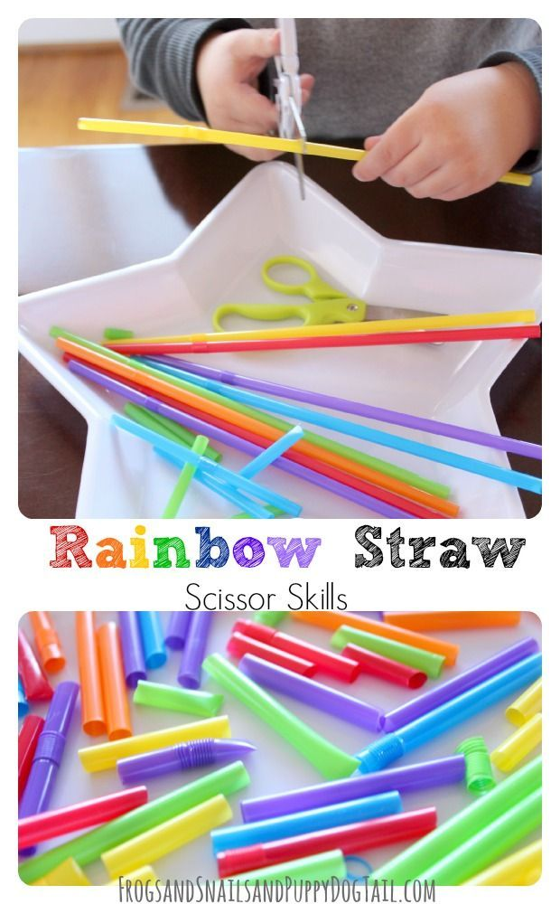 Rainbow Straw Scissor Skills.  Fine motor and cutting practice for preschool and pre-k.