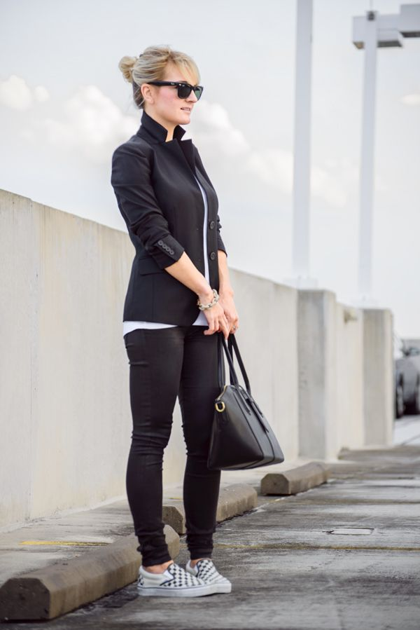 Black and white vans classic slip-on | Erica On Style Blog | Pinterest | Black and white vans ...