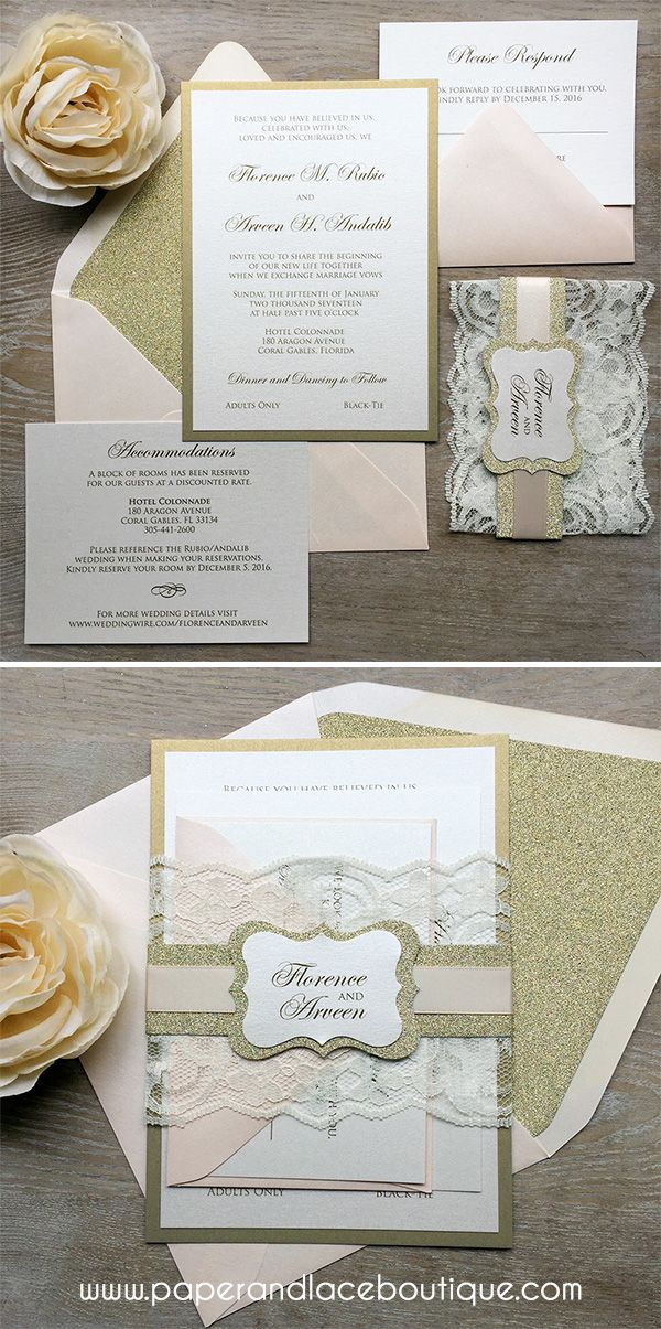 how to put guest names on wedding invitations%0A FLORENCE  Blush and Gold Lace Wedding Invitation  Ivory Lace Wrap and  Gold Glitter Belly