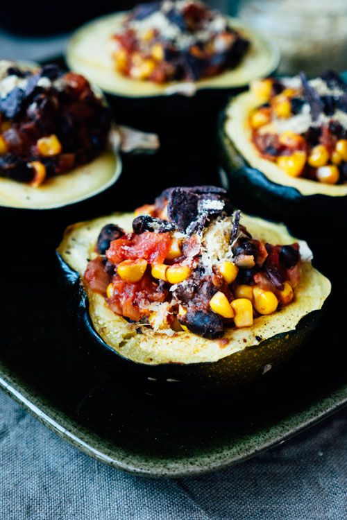 This recipe is perfect for the autumn with a mexican twist. Black bean and sweet corn chilli stuffed gem squash.