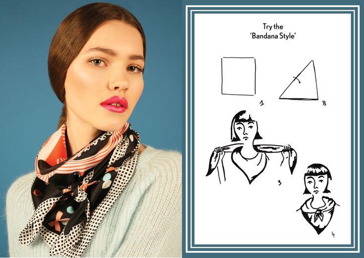 How to tie a bandana knot - designer silk scarf