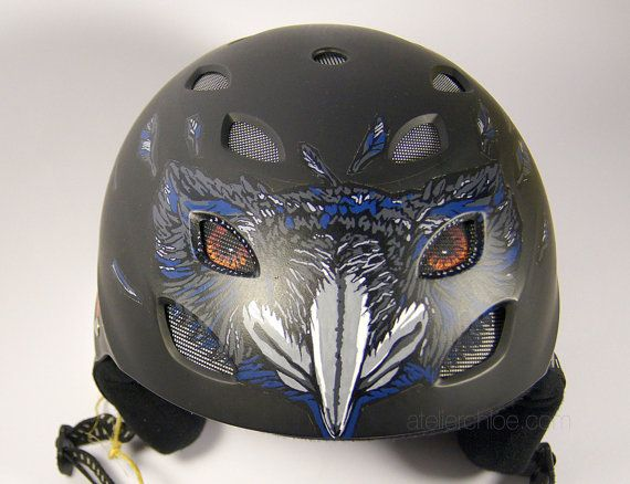 Custom helmet with unique raven design hand by atelierChloe
