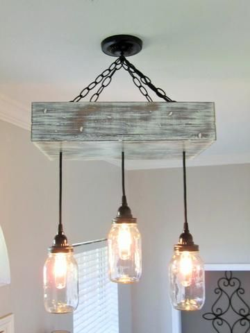 Mason Jar Chandelier with 3 Jars - Out of the Woodwork Designs