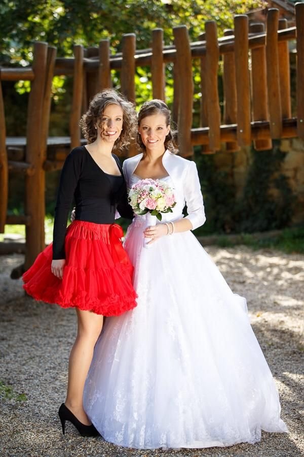Little red riding Hood :) with bride looks gorgeous!