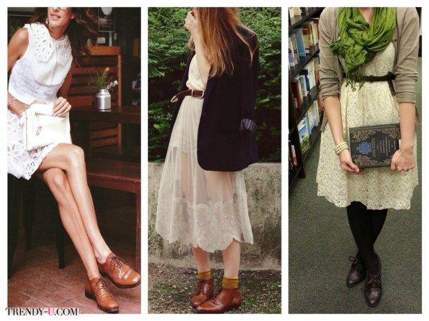 Туфли оксфорд с белыми кружевными платьями. Небанально и стильно!