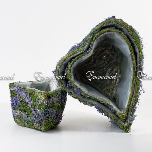 Кашпо-сердце сено и сухоцветы