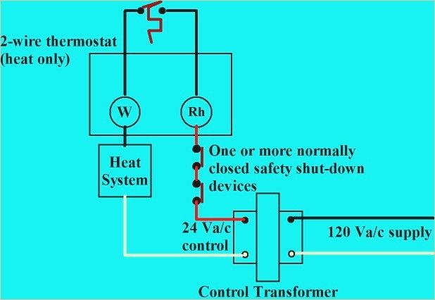 2 Wire Thermostat Diagram Thermostat Wiring Hvac Controls Thermostat