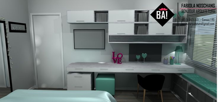 7 best images about PROJETO Interiores Dormitório on  ~ Quarto Verde Agua