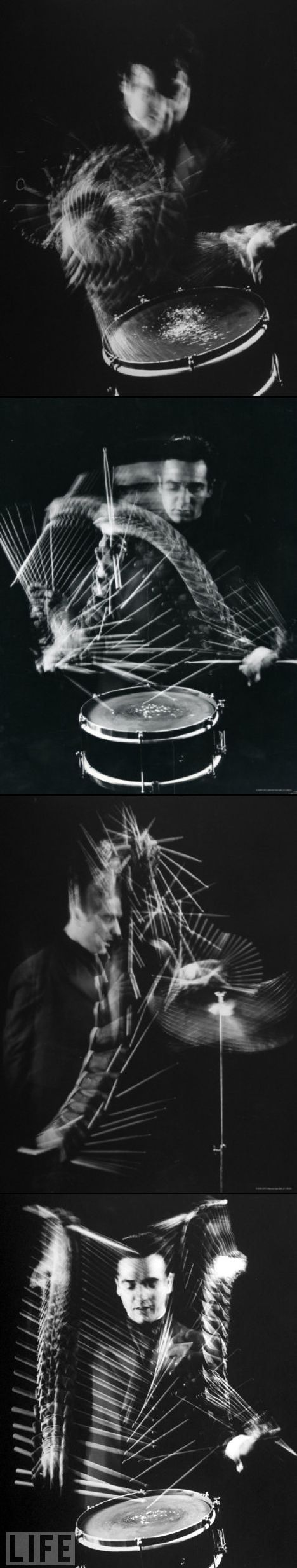 Drummer Gene Krupa by Gjon Mili| I will find out how to do this! Long exposure taken through a black fan maybe?