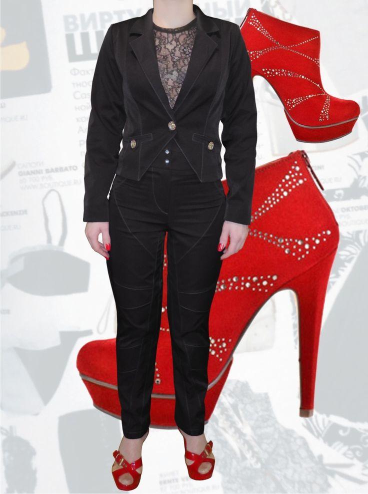 114$ Стильный деловой чёрный костюм для полных девушек с интересными отстрочками: жакет + брюки зауженные к низу Артикул 641, р50-64