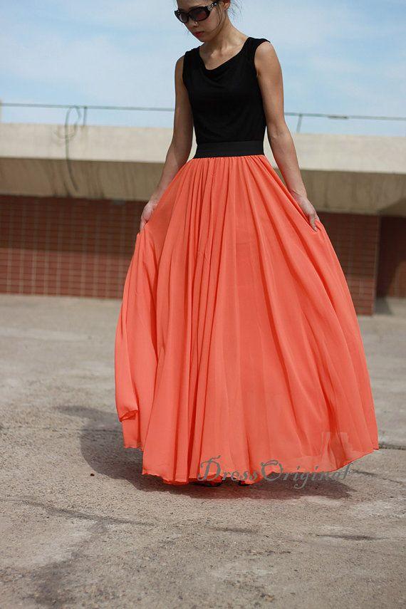 """orange Maxi skirt  orange floor-length skirt by DressOriginal ($59.80) via ETSY shop """"DressOriginal)"""