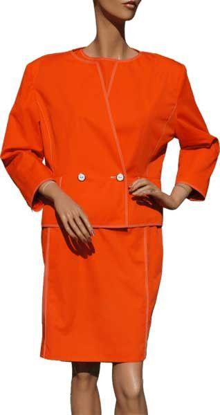 Designer Vintage 1980s Andre Courreges Orange Dress Ladies Size Large