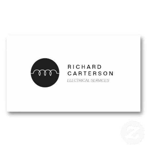 MODERN ELECTRICIAN LOGO On WHITE II Business Card Templates