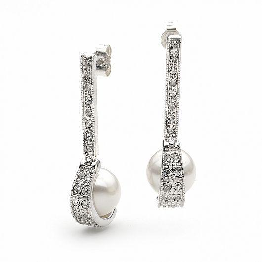 Legacy Long Pearl & Crystal Bridal Earrings