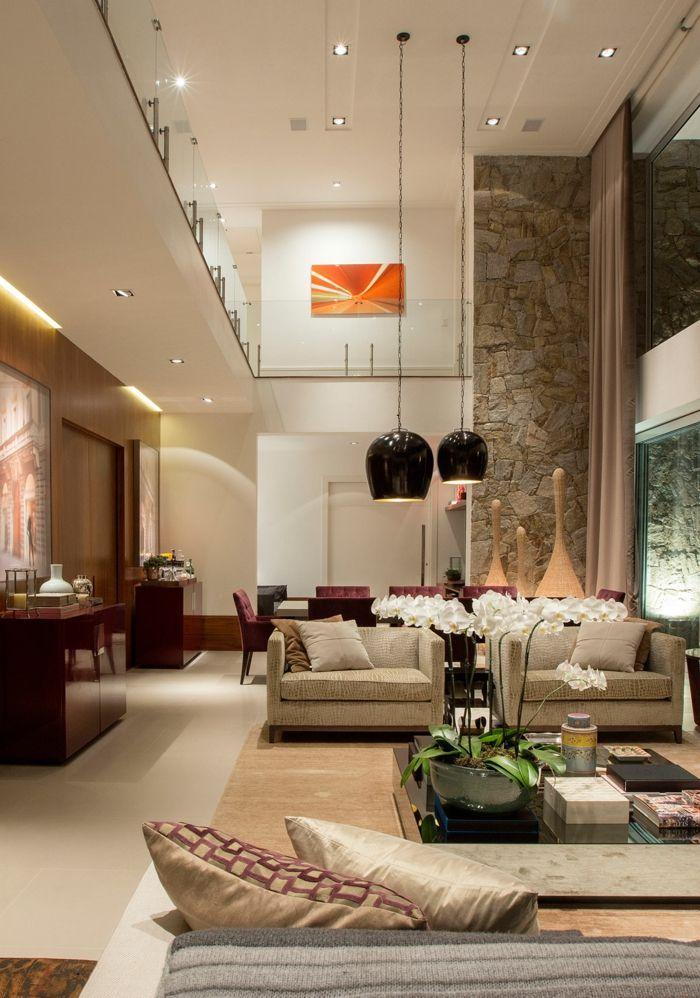 meuble salon pas cher, salon moderne de luxe spacieux, deux ...