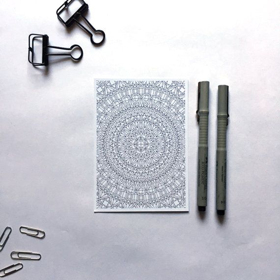 gems mandala coloring postcard diamonds stationery gemstones coloring page geometrical mandala coloring pages mandala greeting cards by AnnaGrundulsDesign