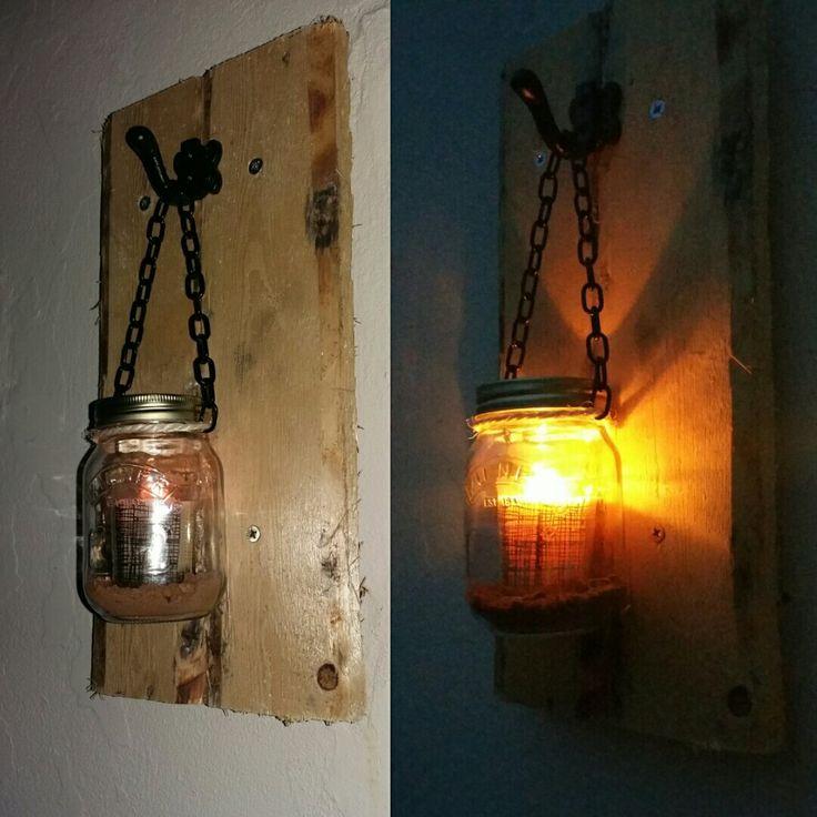 pallet kilner jar candle holder