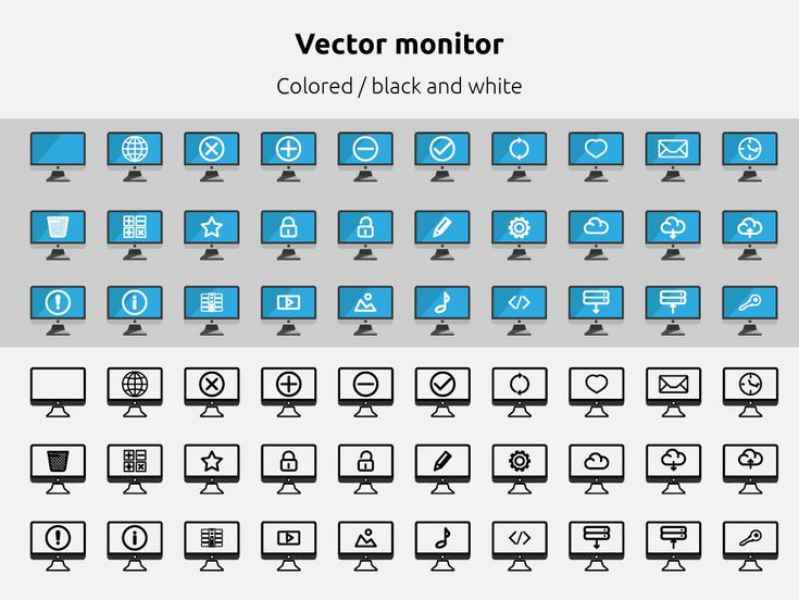 Desktop Monitor (60 vector icon sets) This is a nice set of 60 cute pixel perfect icons desktop monitor!  • 2 formats: SVG and .ai (Adobe Illustrator)  • 60 icons colored & black  • Pixel perfect  • Vector 100%  • 100x100 original size  • Shared style for quick changed color