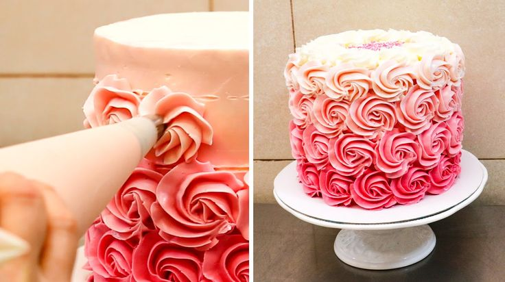 Swirl Buttercream Rosettes Cake - How To by CakesStepbyStep