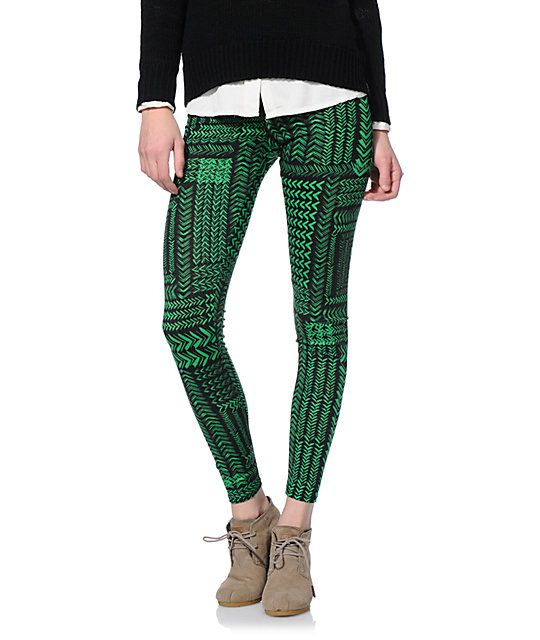 See You Monday Green & Black Chevron Tribal Printed Leggings