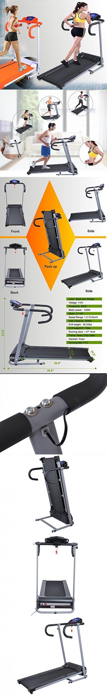 Folding Electric Treadmill 500W Portable Motorized Running Machine Black