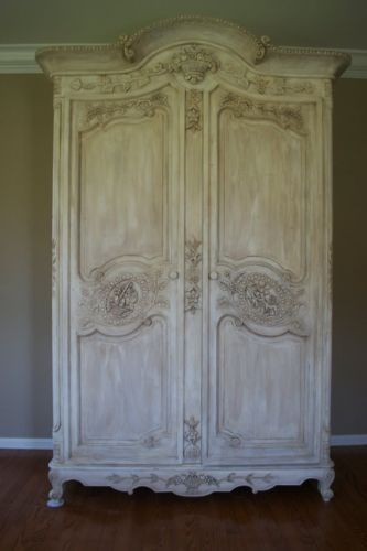 Vintage French Provincial Louis XV Style Shabby Chic Old White Carved Arm   eBay