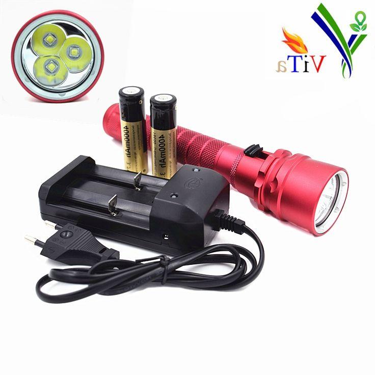 42.98$  Buy here - http://aliyua.worldwells.pw/go.php?t=32323073484 - 6000 Lumen 100m Underwater Diving Flashlight 3X XML L2 Waterproof Scuba LED Torch Light & 2x 18650 4000mah Battery+ Charger
