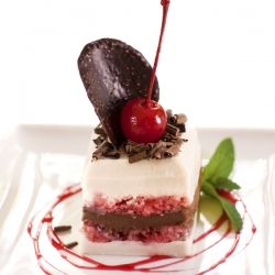 Layers of cherry, chocolate, and vanilla; Zuppa Inglese meets modern pastry presentation.