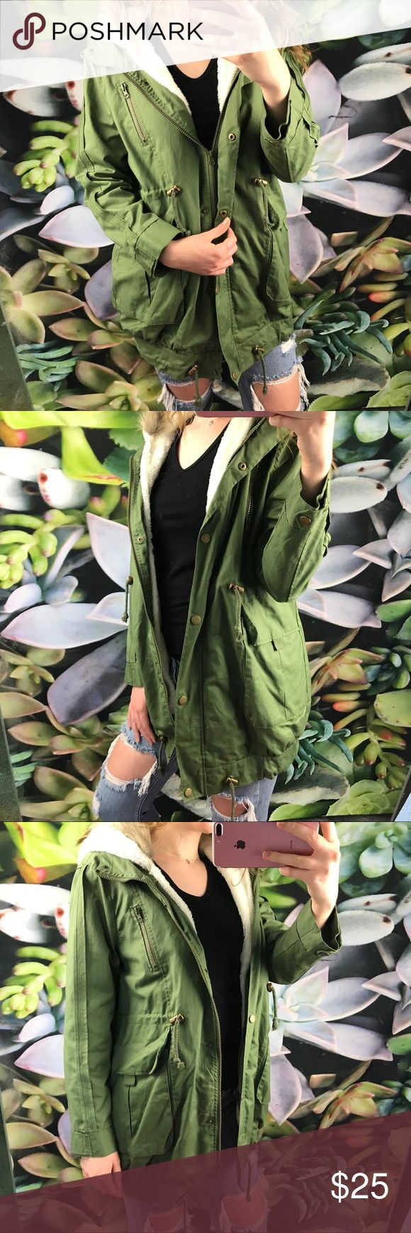 Olive Green Faux Fur Lined Coat Never worn. Super cute and warm. Perfect condition. Also has hood Jackets & Coats Utility Jackets