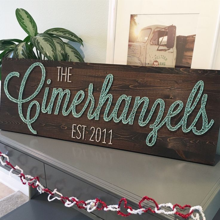 LARGE String Art Name Board - custom name with or without year established by LadamsLane on Etsy https://www.etsy.com/listing/286450387/large-string-art-name-board-custom-name