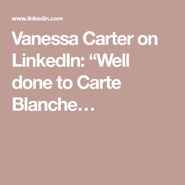 """Vanessa Carter on LinkedIn: """"Well done to Carte Blanche…"""